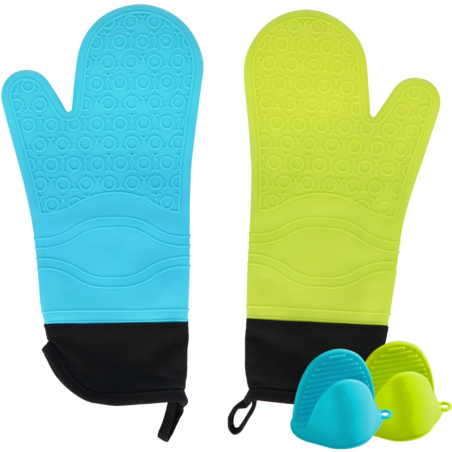 STARUBY Professional Oven Mitts,Silicone Microwave Oven Mitts Heat Resistant Kitchen Mitts Set Mix Green and Blue, Quilted Liner, for Women&Man Gift with Pinch Grips