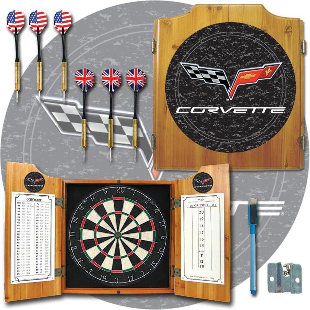 Trademark - Corvette Model C6 Dart Board Cabinet with Bristle Board and Darts