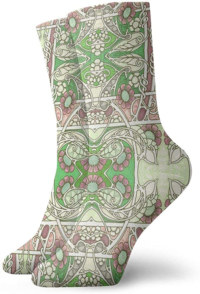 Huabuqi Calcetines de algodón para mujeres, Twisted Vine Nouveau Time_1903, 100% algodón antideslizante para hombres, mujeres, talla única.: Amazon.es: Ropa y accesorios