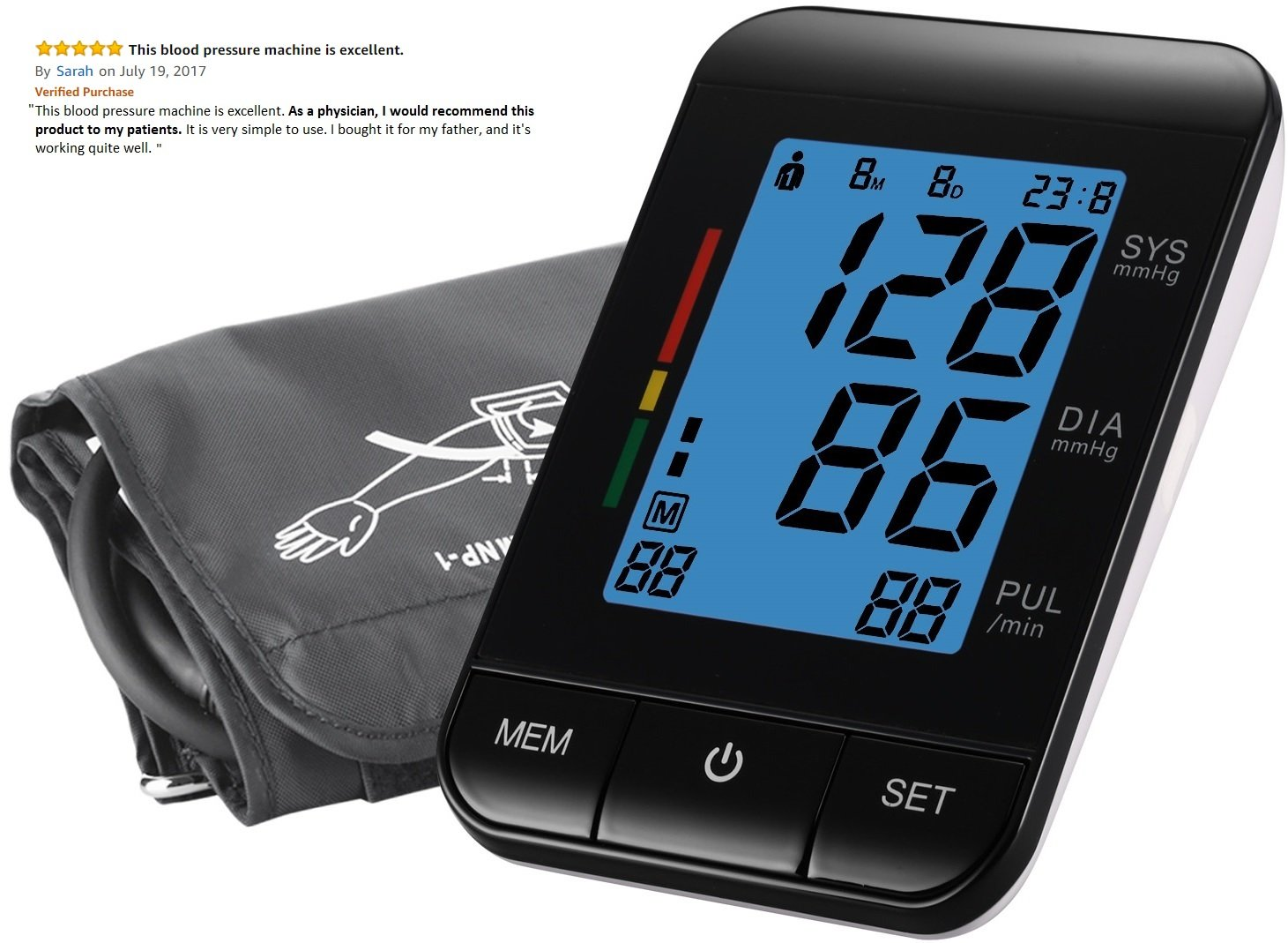 FDA Approved Automatic Clinical Digital Blood Pressure Monitor Machine with Large Screen Display Irregular Heartbeat BP and Adjustable Upper Arm Cuff Perfect Everyday Health Monitoring 2 YEAR WARRANTY by iLifePlus (Image #3)