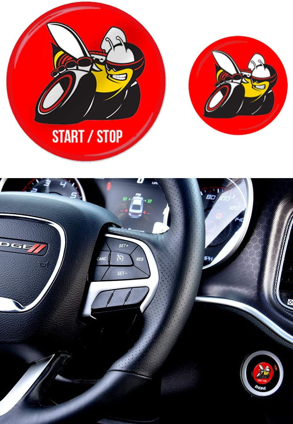 Challenger Scat Pack >> Starter Button Decal Overlay Compatible With 2015 2019 Dodge Charger Challenger Scat Pack 3d Domed Red Srt Style Start Stop Sticker Emblem Push To