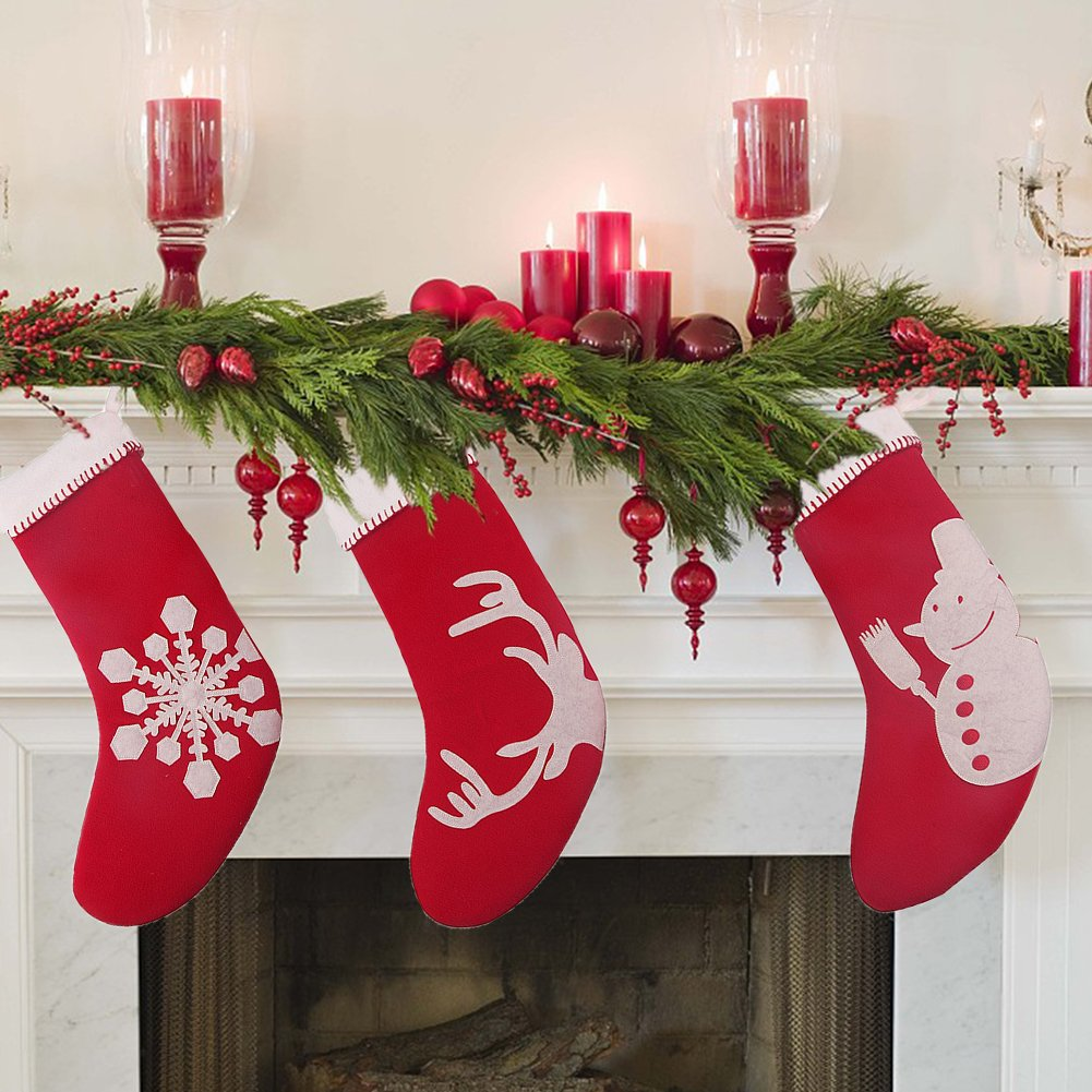 NordECO Classic Christmas Stockings for Decoration, Elk, Snowman and Snowflake, Set of 3