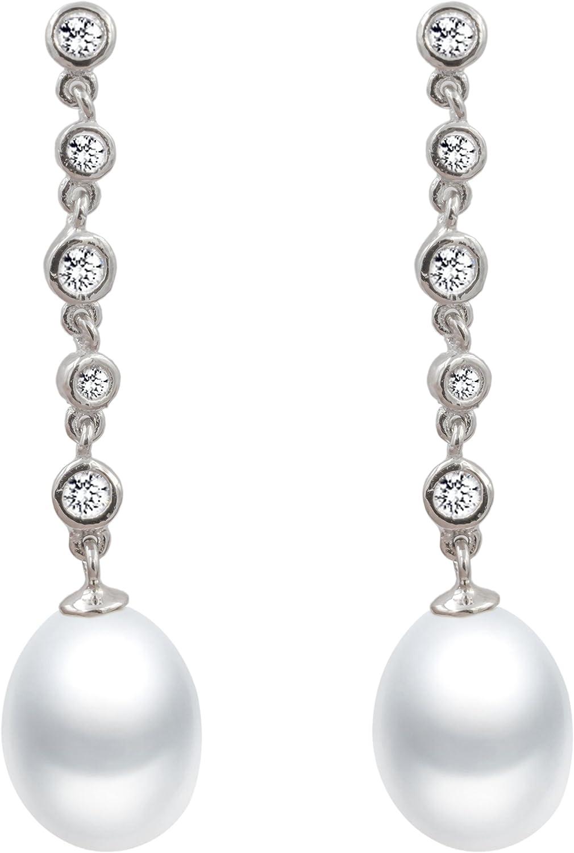 Pendientes de Perlas de Mujer Blancas Cultivadas de Agua Dulce de Gota de Agua de 8-9 mm con circonitas Secret & You - Cadena de Plata de Ley de 925 milésimas