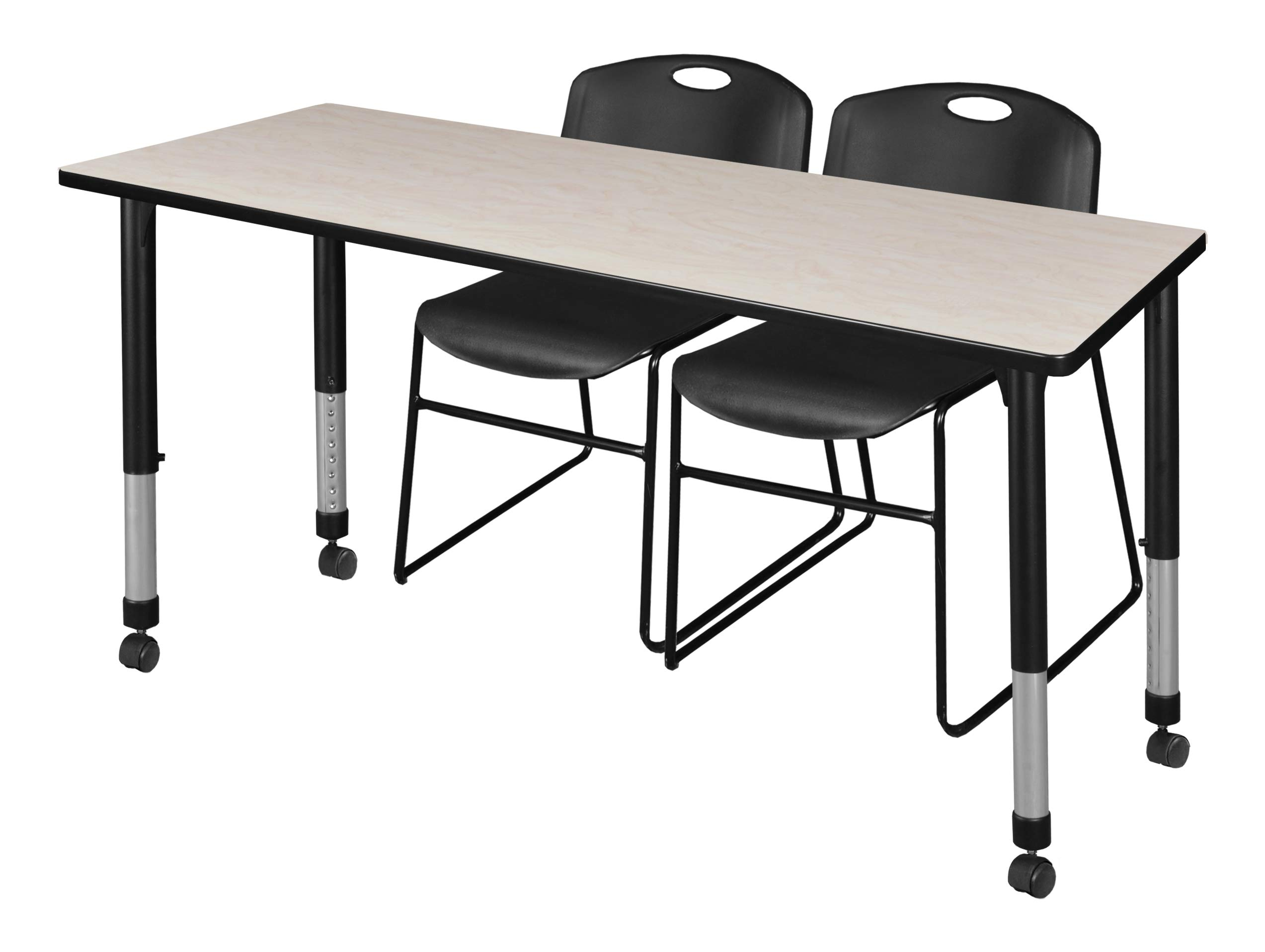 Regency MT7230PLAPCBK44BK Kee Height Adjustable Mobile Classroom Table Set with Two Zeng Chairs, 72'' x 30'', Maple/Black
