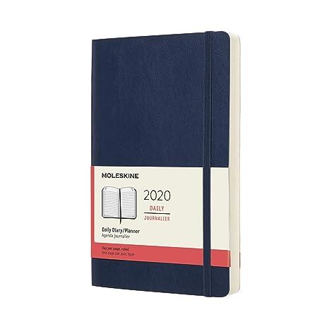 Moleskine - Agenda Diaria de 12 Meses 2020, Tapa Blanda y Goma Elástica, Color Azul Zafiro, Tamaño Grande 13 x 21 cm, 400 Páginas