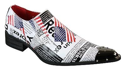 7f08735020e58 Chaussures homme bout pointu métal style cowboy drapeau américain style  original