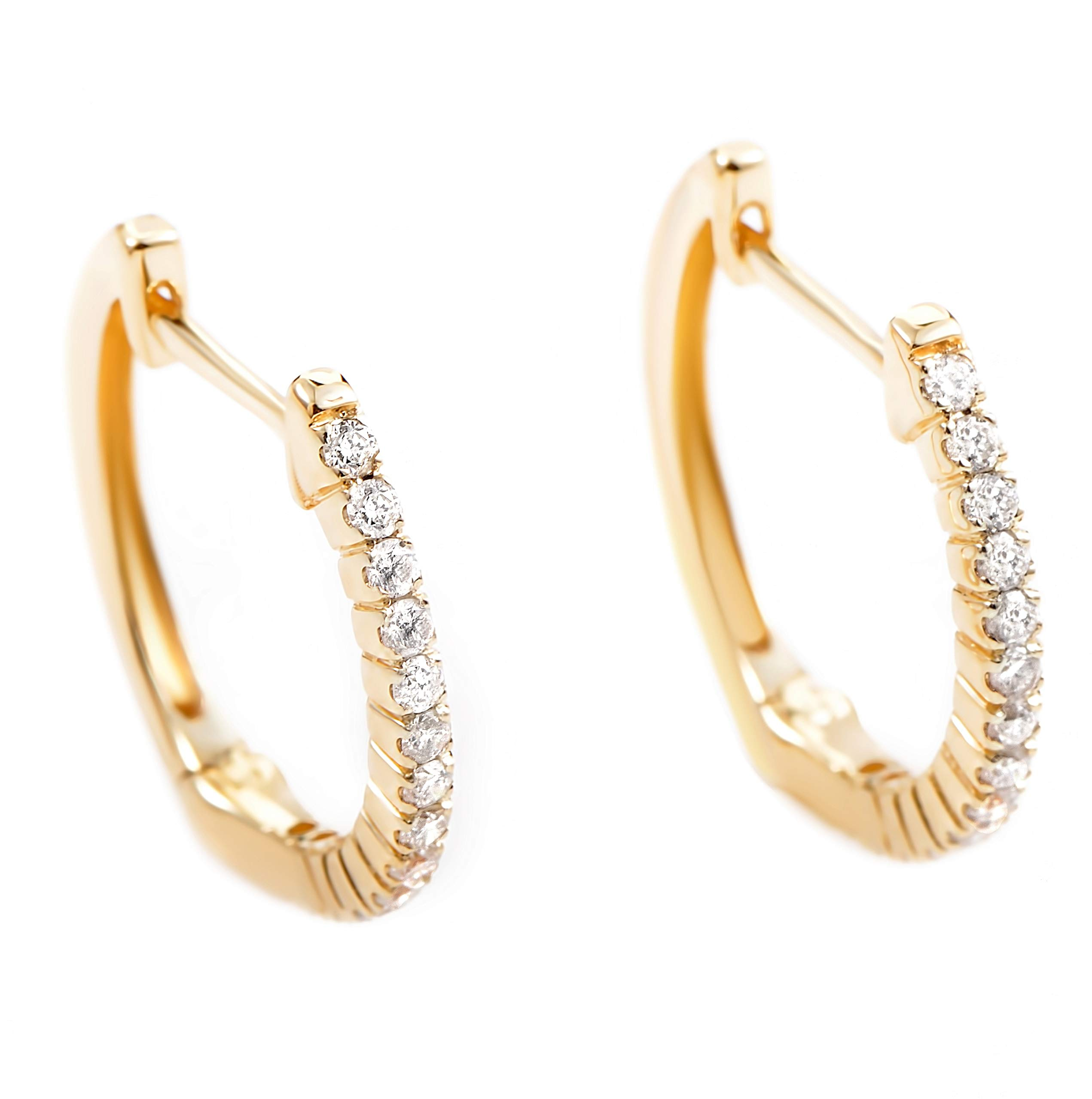 14K Yellow Gold Diamond Hoop Huggies Earrings .27 Carat (0.27 ctw) Brilliant Diamonds by Luxury Bazaar
