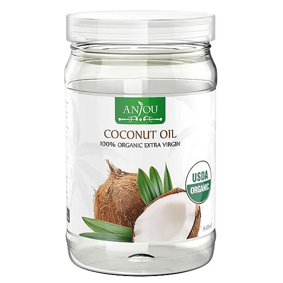 Anjou Aceite de COCO Orgánico 100% Extra Virgen sin Refinar, Prensado en Frío,