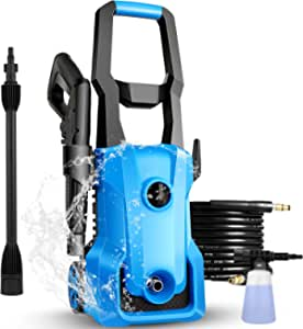 [New Model] Pressure Washer, 3000PSI Electric Pressure Washer, 2.4GPM 1600W Portable Power Washer with Hose Reel, 4 Quick Connect Nozzles, Soap Tank, IPX5 Car Washer Machine (Blue)