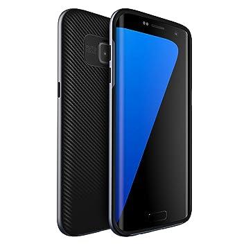 ivencase Funda Samsung Galaxy S7 Edge Carbon Fiber Case Prima Híbrido Anti-rasguños Marco Doble Capa Bumper Carcasa para Galaxy S7 Edge (2016)