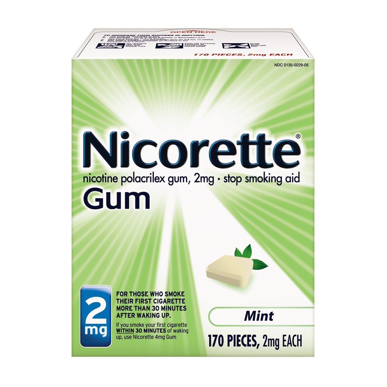 Nicorette Nicotine Gum to Stop Smoking, 2mg, Mint, 170 Count