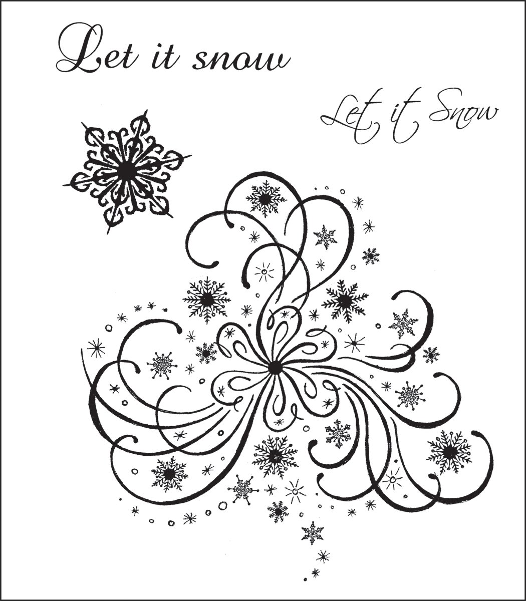 Heartfelt Creations Cling Rubber Stamp Set 5'X6.5'-Snowflake Medley