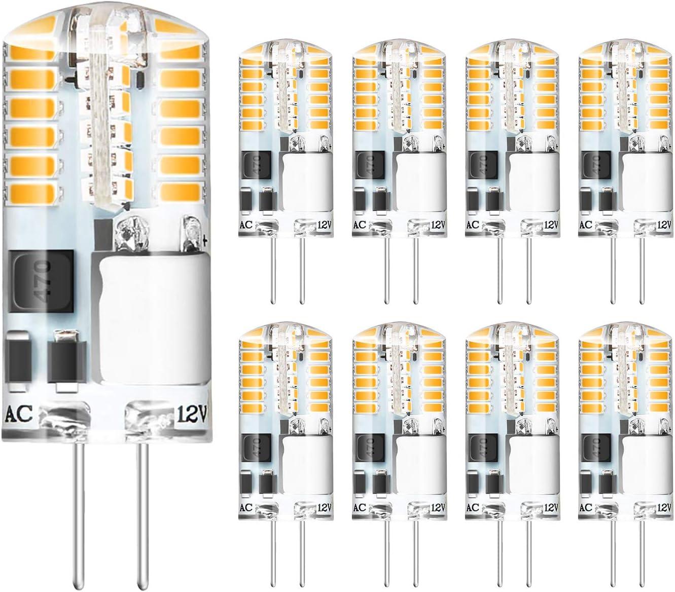 Bombillas LED G4 3W Reemplaza Bombillas Halógenas de 20W 30W Lámparas AC / DC 12V G4 Blanco Cálido 2700K, CRI 83 Ángulo de Haz360 °, 215LM, Paquete de 8 Yuiip [Clase de eficiencia A + ]