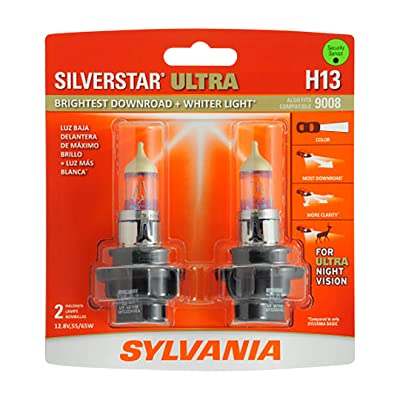 SYLVANIA - H13 SilverStar Ultra - High Performance Halogen Headlight Bulb, High Beam, Low Beam and Fog Replacement Bulb, Brightest Downroad with Whiter Light, Tri-Band Technology (Contains 2 Bulbs): Automotive