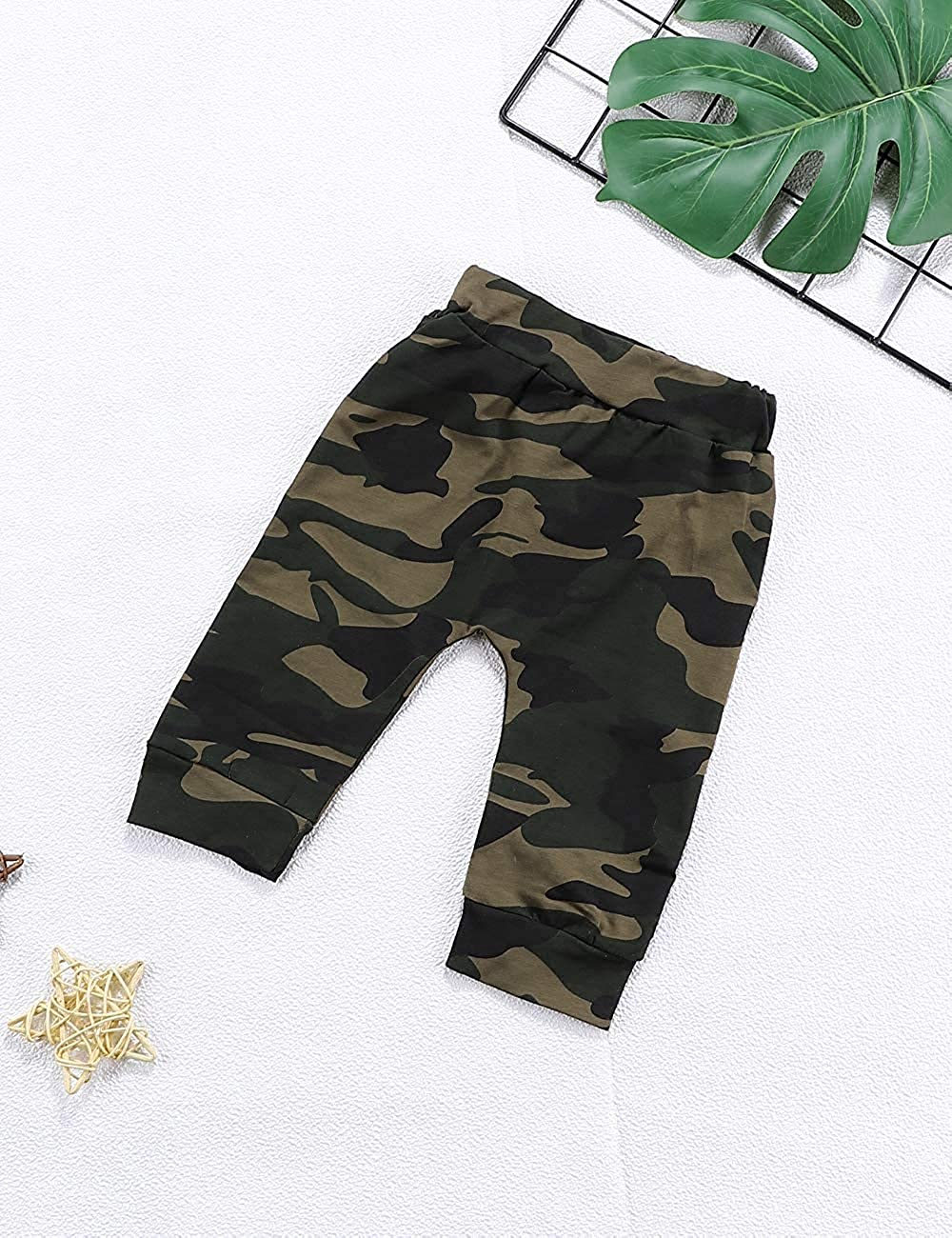 oklady Toddler Baby Boy Clothes Long Sleeve Funny Print Hoodie and Camouflage Pants Outfits Set