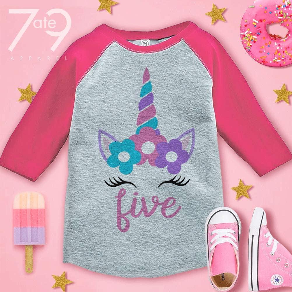 7 ate 9 Apparel Kids Fifth Birthday Unicorn Raglan Tee Pink