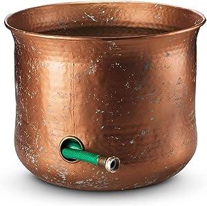LifeSmart Decorative Garden Hose Holder Water Hose Storage Pot Outdoor or Indoor Use (Rust Proof Magnetic Steel, Bronze)