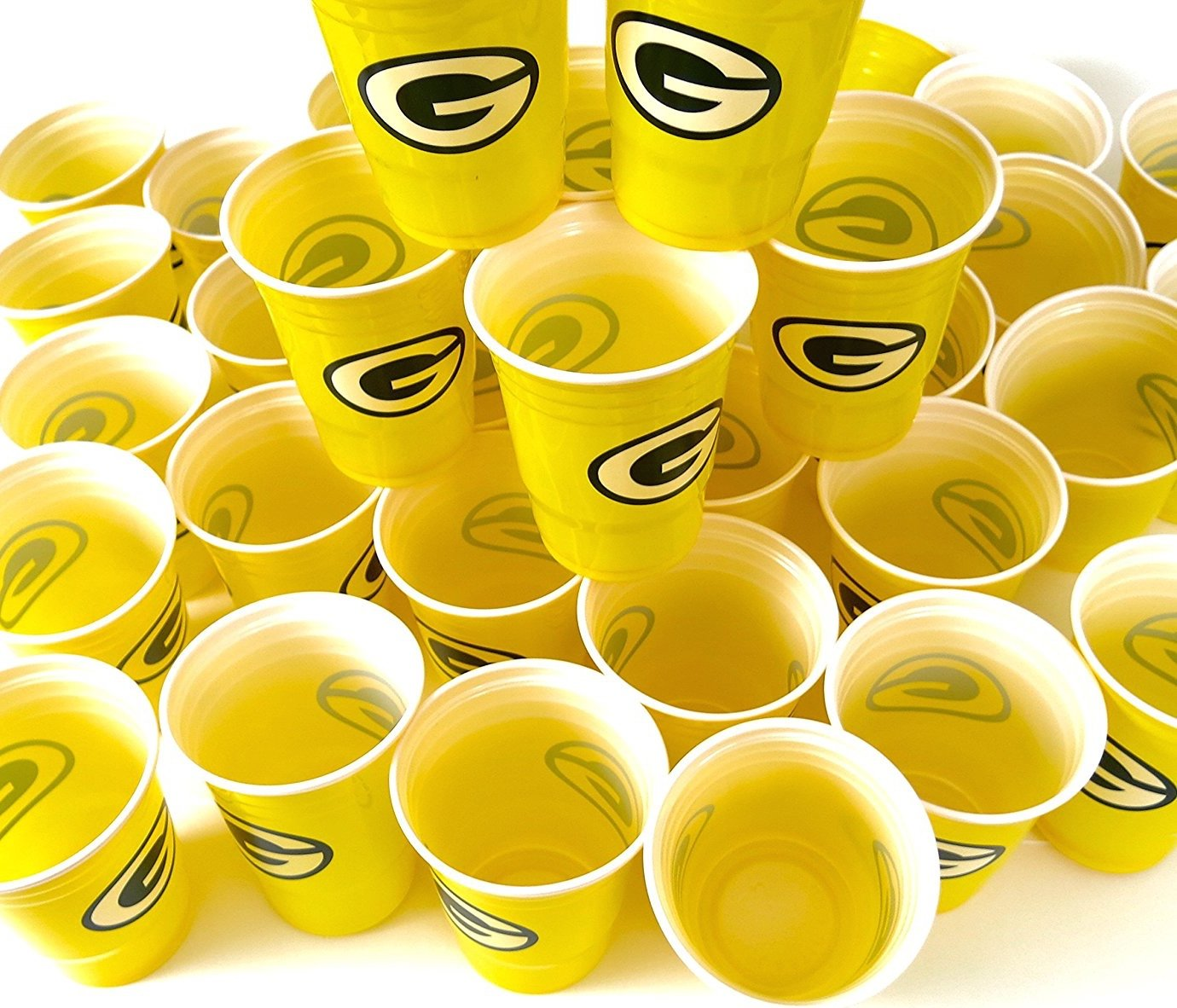 Green Bay Packers 54 party cups barbecue cookout 4th of July Large plastic colorful 18 oz, game day plastic jumbo cups.