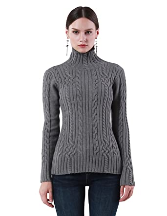 27887e43401 ninovino Women's Basic Slim-fit Turtleneck Twisted Cable Knit Tunic Sweater  Gray-M