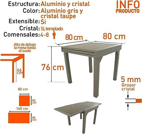 Edenjardi Mesa de Exterior Extensible de 80 cm a 160 cm, Aluminio ...