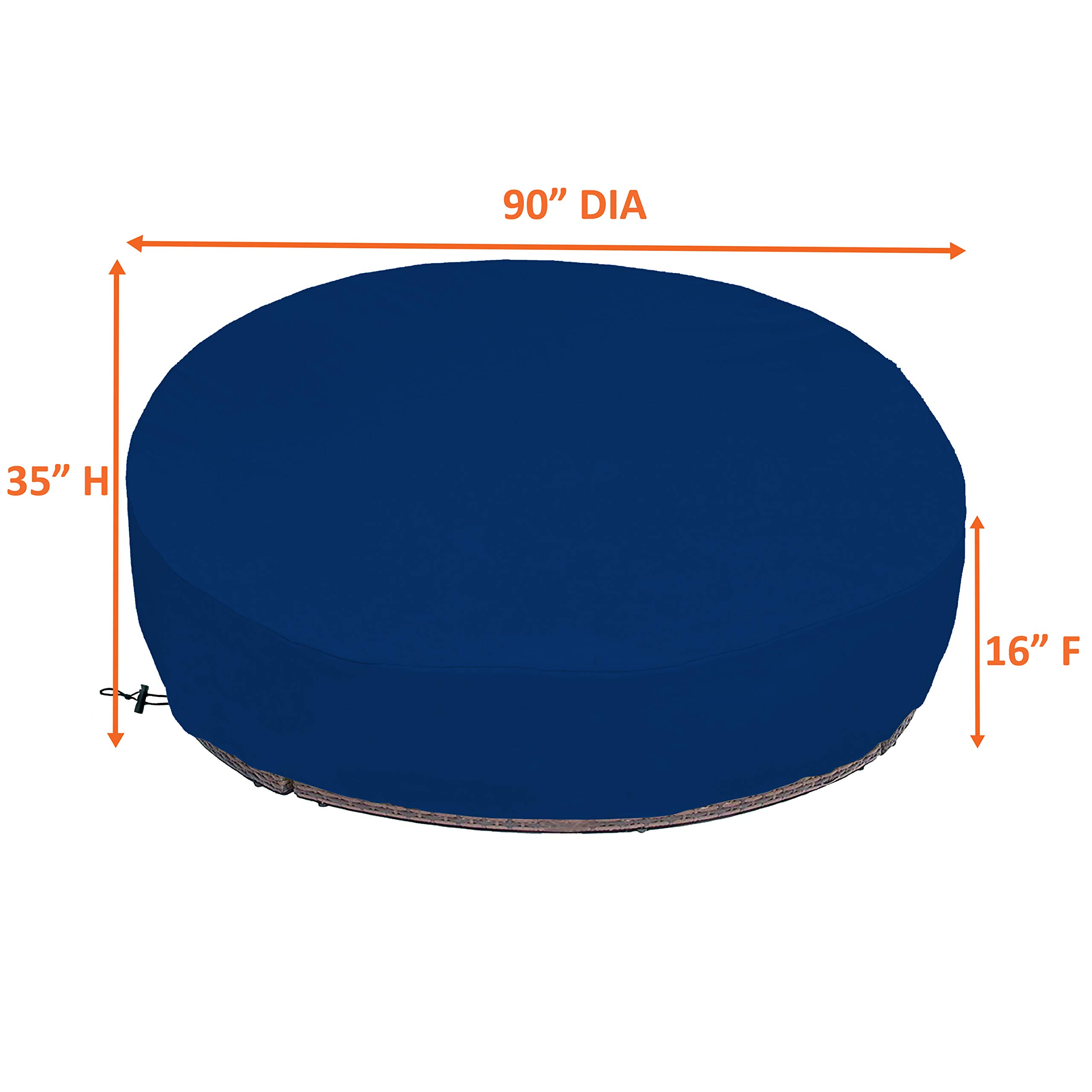 COVERS & ALL Outdoor Daybed Cover 18 Oz Waterproof - 100% UV & Weather Resistant Patio Furniture Cover with Air Pockets and Drawstring for Snug fit (Blue) by COVERS & ALL (Image #3)