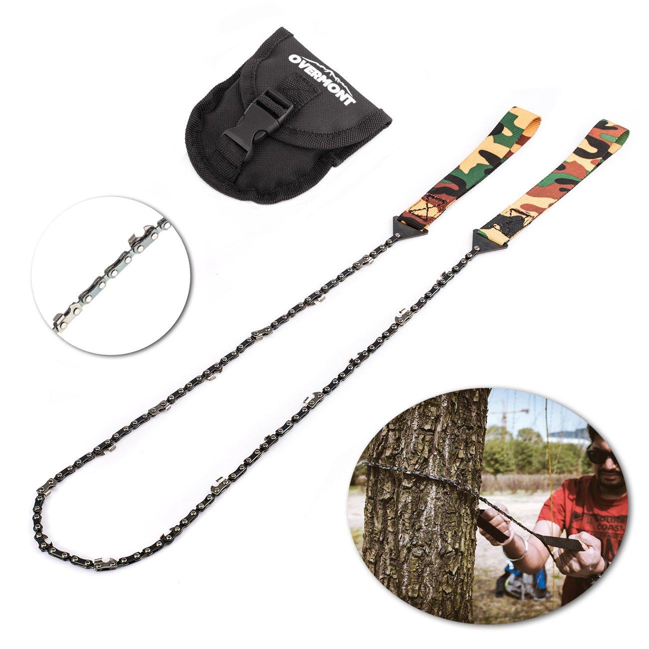 Overmont 16 dientes Sierra de cadena manual kit de supervivencia para camping senderismo al aire libre