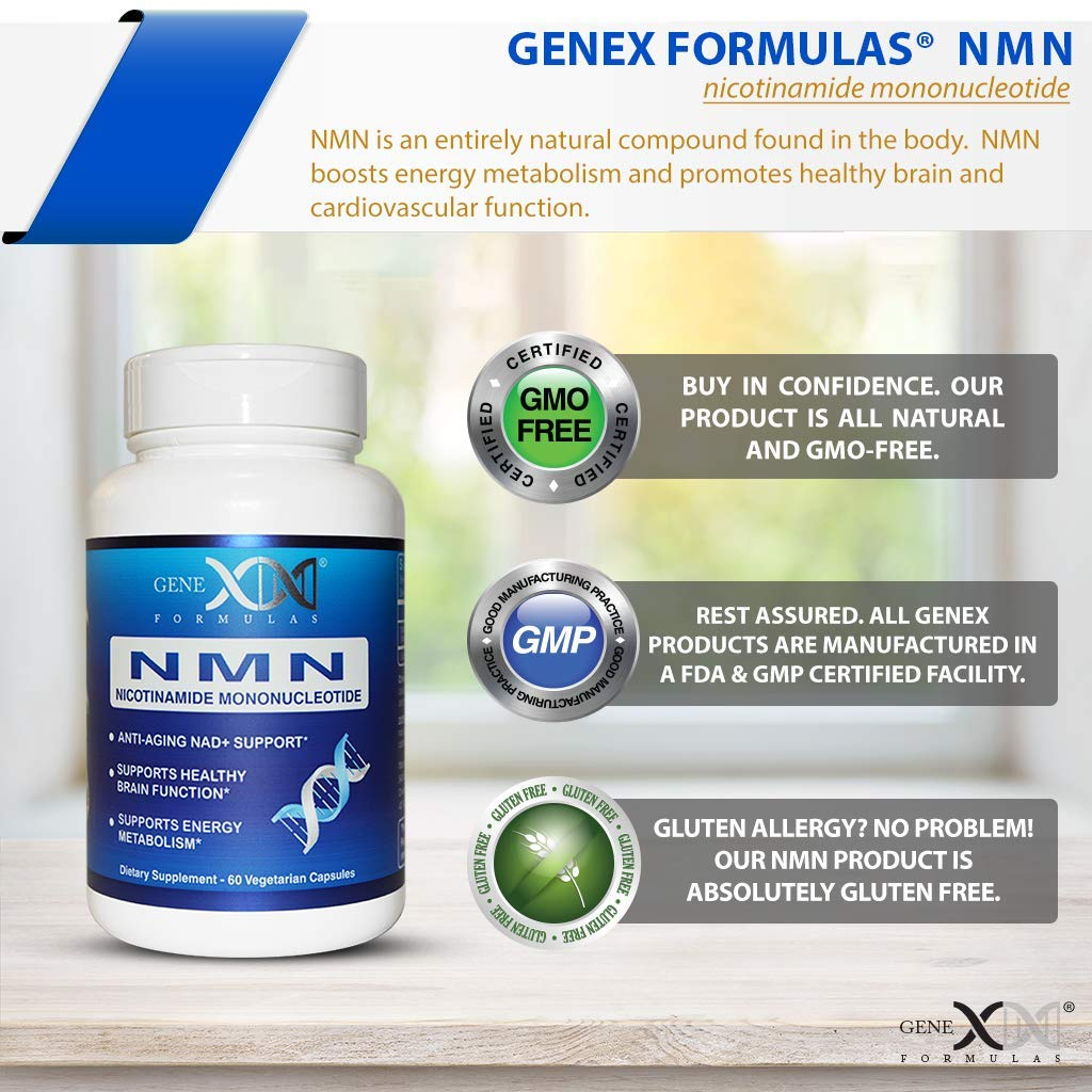 NMN 250mg Serving 3Pack Nicotinamide Mononucleotide Direct NAD+ Supplement, Anti Aging DNA Repair & Healthy Metabolism (2X 125mg caps 60 ct per Bottle) by Genex Formulas (Image #5)