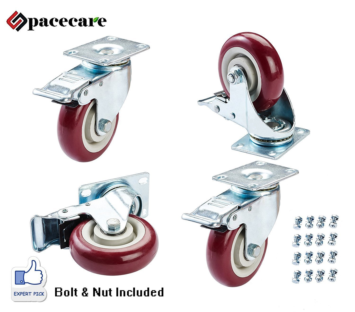 SPACECARE 4 Pack of 5'' Swivel Caster Polyurethane Wheels Base with Brake Top Plate & Double Ball Bearing 300lb Each (4)