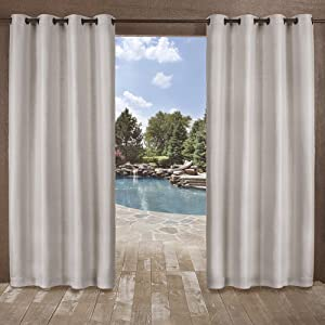 Exclusive Home Curtains Delano Heavyweight Textured Indoor/Outdoor Grommet Top Curtain Panel Pair, 54x84, Silver, 2 Piece
