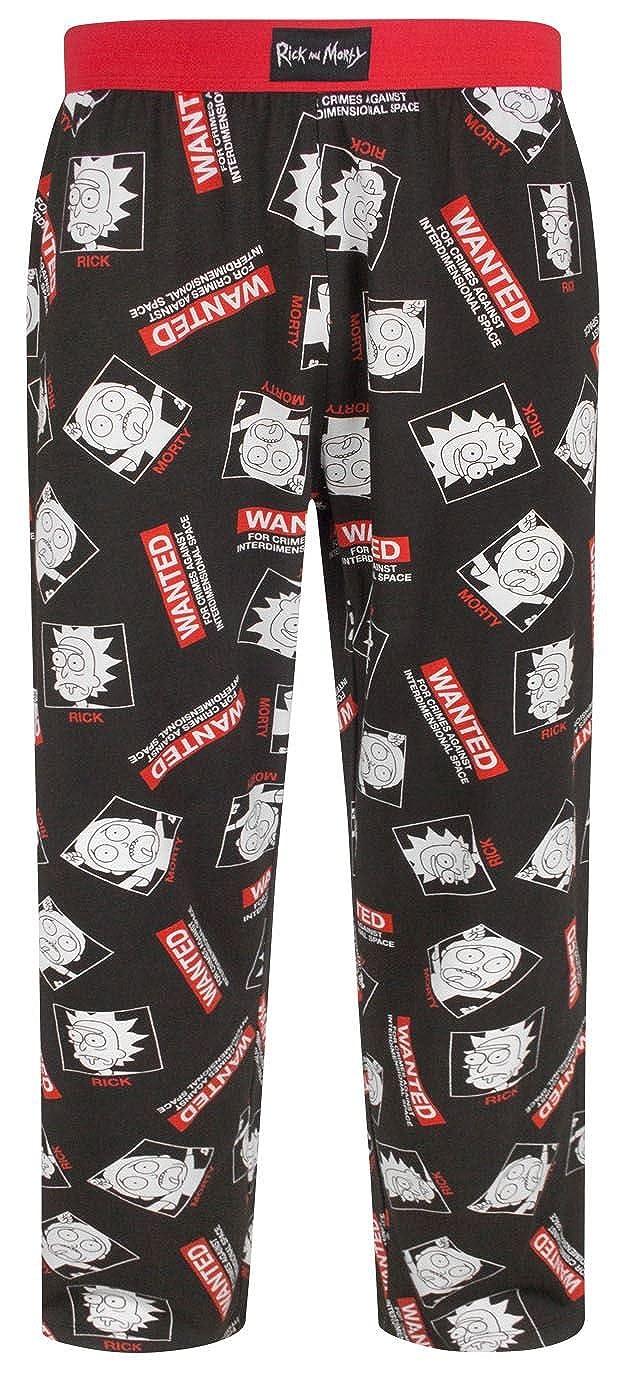 Black Rick and Morty Wanted Mens Pyjamas Lounge Pants Bottoms PJs 3XL