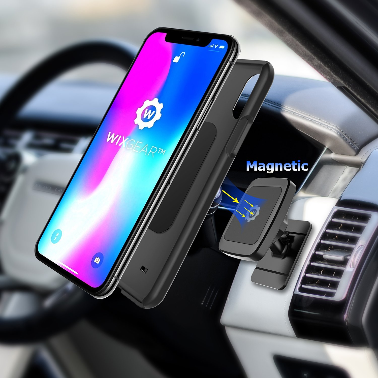 for Cell Phones and Mini Tablets with Fast Swift-snap Technology, New Rectangle Stronger Design WixGear Universal Stick On Dashboard Magnetic Car Mount Holder Magnetic stick on mount