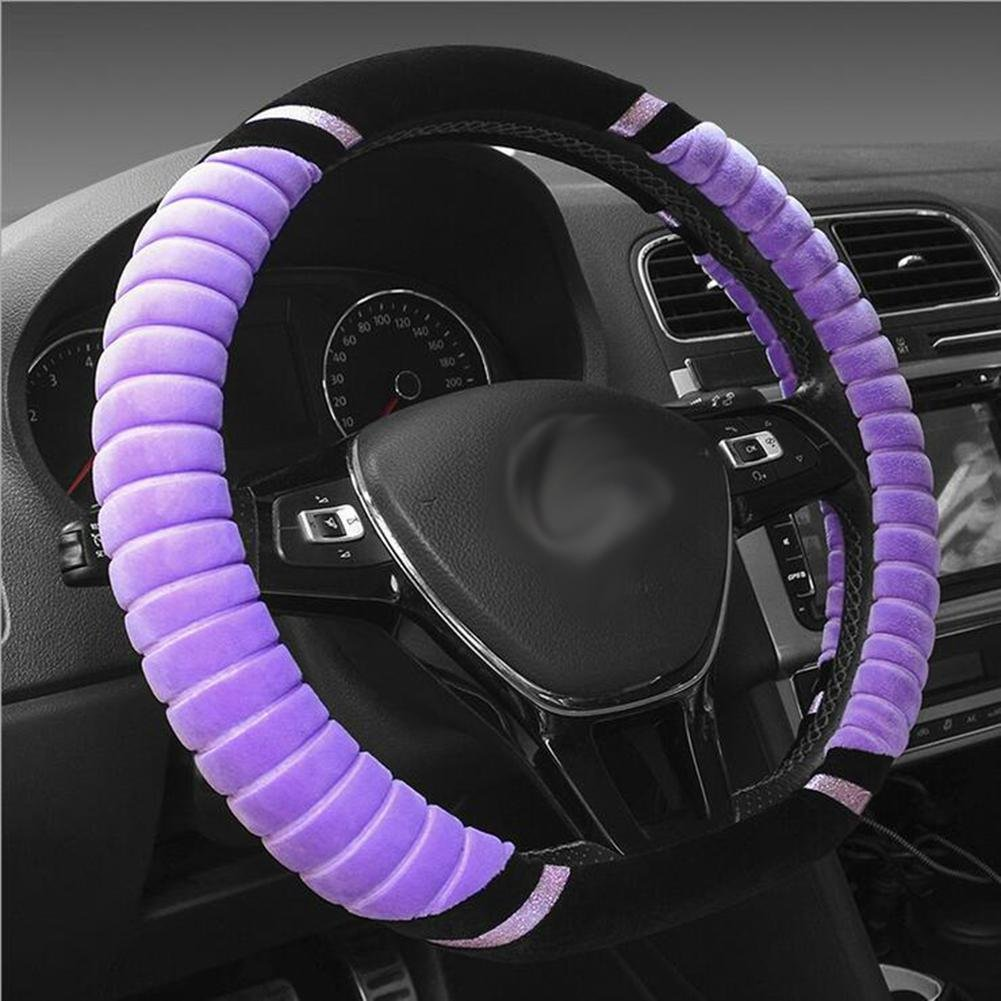 Auto Accessories 2018 Winter Plush Car Steering Wheel Cover D-Type High Elastic Handle Sets, Purple, 38CM