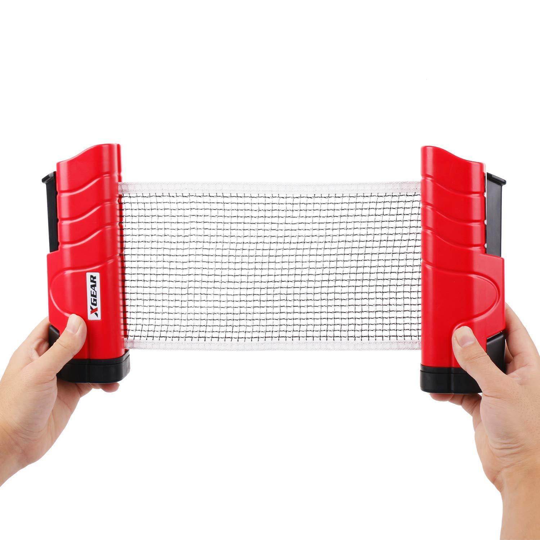 XGEAR Juego de Ping Pong con 2 Raquetas + 3 Bolas Pelotas Tenis de Mesa + 1 Red Retráctil + 1 Bolsa Conjunto de Pingpong Set Portátil para Interior al ...