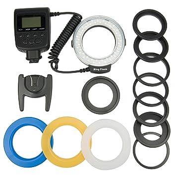 Azzuro ® Macro RF550D unidades Flash anular LED para Nikon D7100 ...