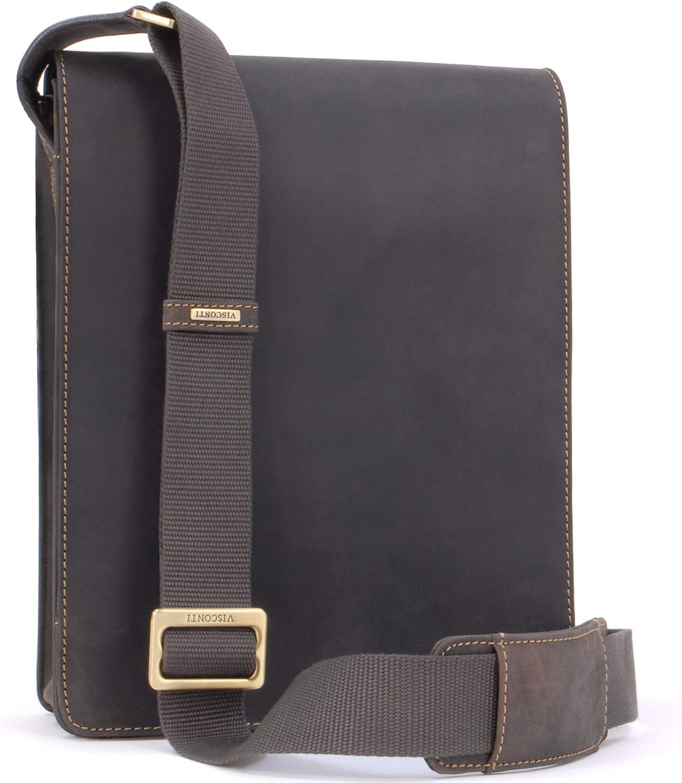 VISCONTI - LEO 18563 - Bolso bandolera - Apto para iPad, Kindle y portátil - Cuero - Marrón