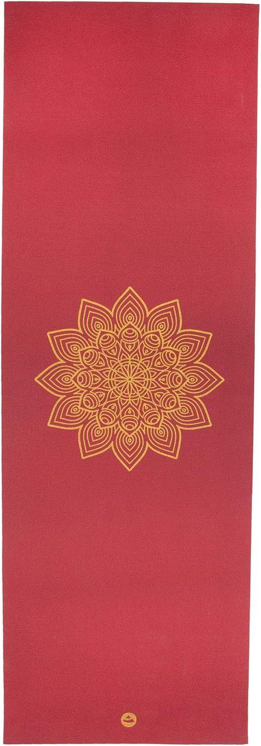 Tapete de yoga pvc premium ecológico Rishikesh estampa Mandala dourada, antiderrapante, Yoga Mat com durabilidade e conforto - 4.5mm 183 x 60cm (Bordô)