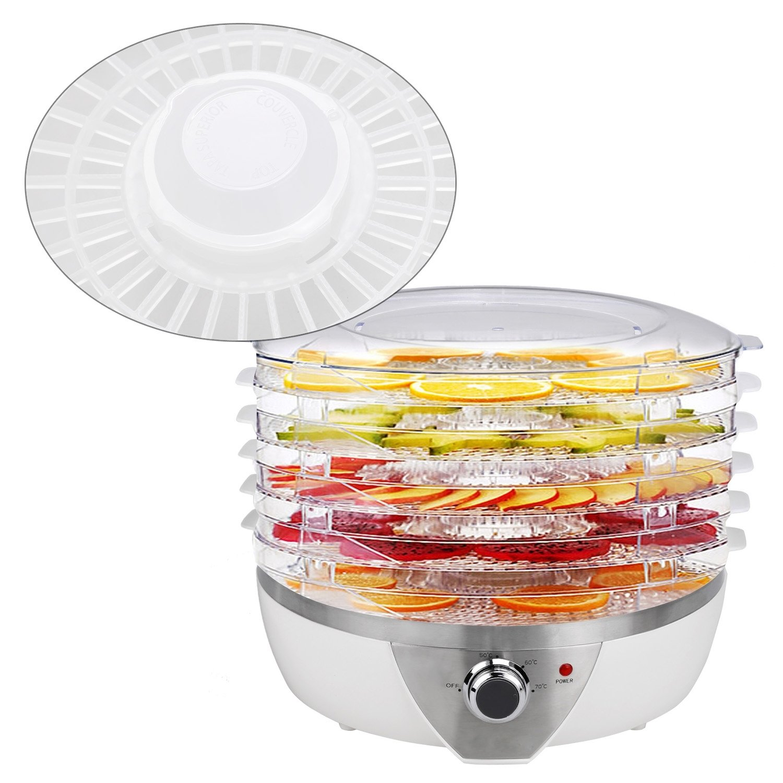 500W Electric Fruit Food Dehydrator 6 Drying Racks Snack-Maker with 5 Interchangeable Trays US Plug