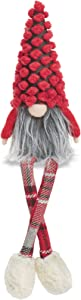 "Mud Pie RED DOT Xmas Dangle Leg GNOME, 9"" x 4"""