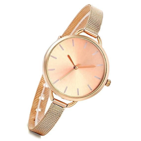 Lancardo Reloj Analógico Elegante con Correa de Acero Inoxidable Súper Fino  Dial Pequeño Pulsera Electrónica de 1fb42df55aa1
