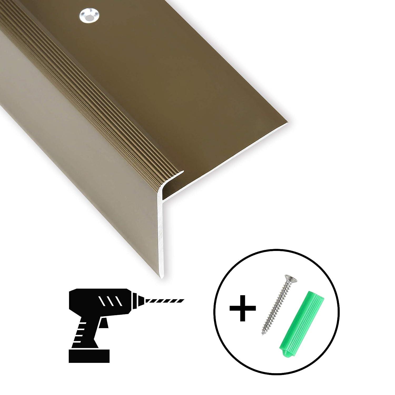 bronze 134 cm Toolerando Treppenkantenprofil F-Form Schraubmontage 53 x 50 mm