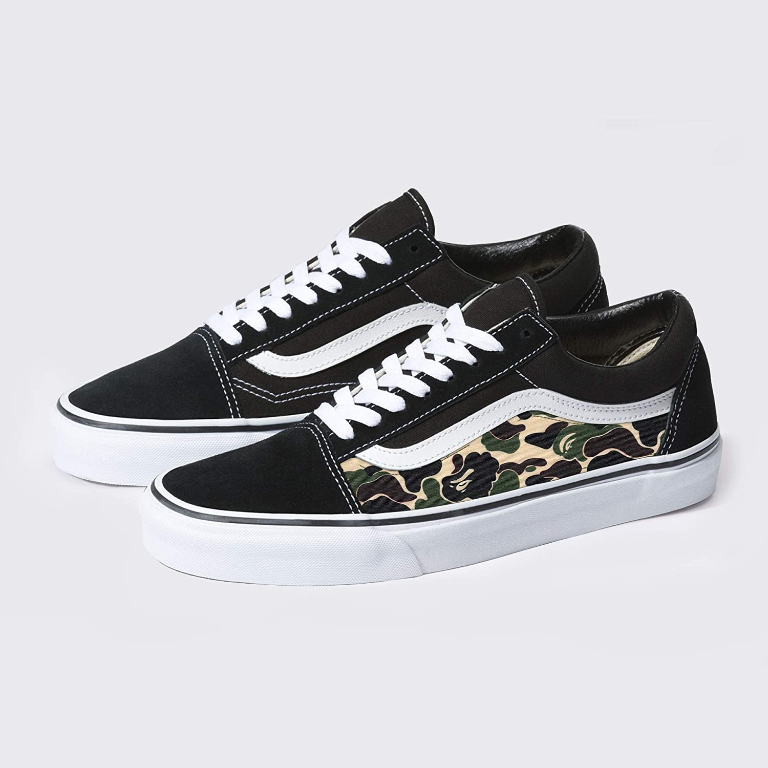 f60fcf303b7 Amazon.com  Vans Old Skool x Bape Camo Custom Handmade Uni-Sex Shoes By  Patch Collection  Handmade
