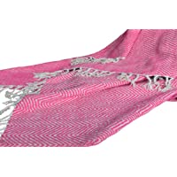 AVIONI Handloom Cotton-Chenille Sofa Throws Blankets (Pink)