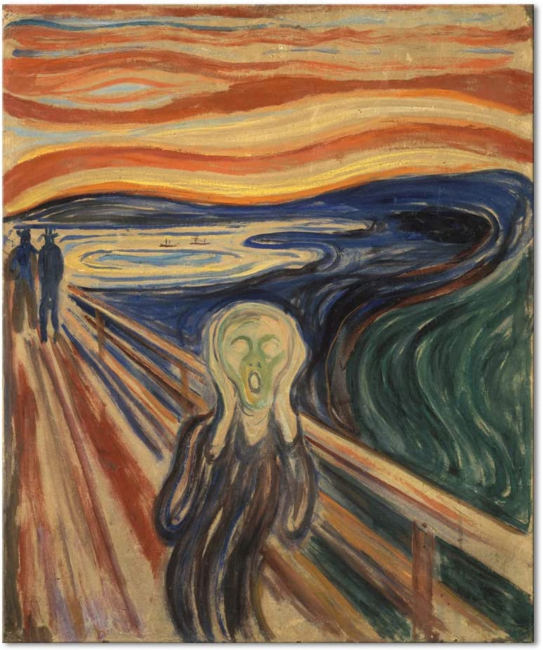 Wieco Art Canvas Wall Art The Scream by Edward Munch Famous Paintings Reproduction Abstract Canvas Prints Artwork for Wall Decor Expressionism Art for Home & Office Decoration MUNCH-0001-5060