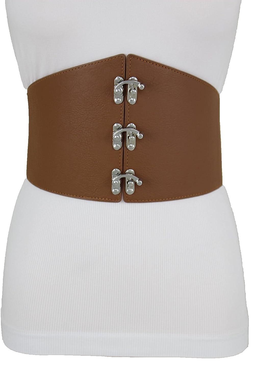 ca7869fa652 TFJ Women Dressy Wide Corset Stretch Belt Hip Waist Silver Metal Hook  Buckle L XL XXL Brown at Amazon Women s Clothing store