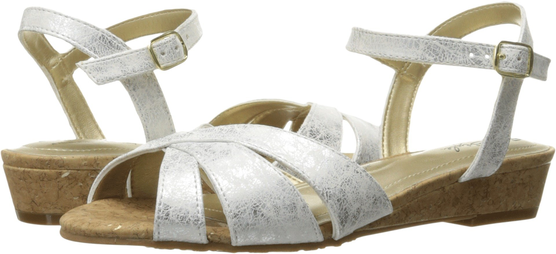 Soft Style by Hush Puppies Women's Midnite Wedge Sandal, White, 9.5 M US