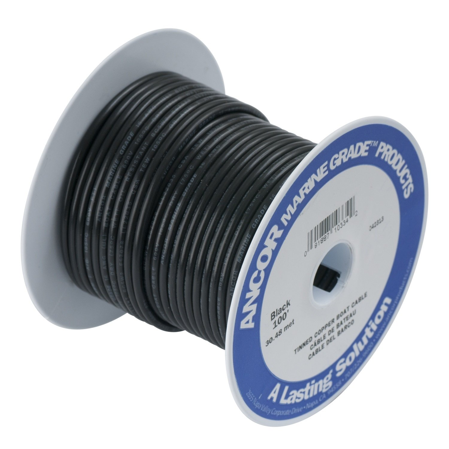Ancor Marine Grade Primary Wire and Battery Cable (Black, 50 Feet, 4 AWG) by Ancor
