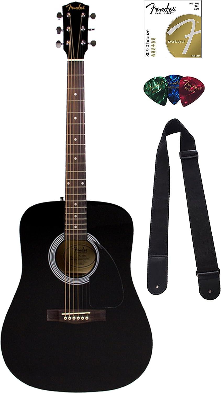 Fender FA-100 - Lote de guitarra acústica con funda rígida: Amazon ...