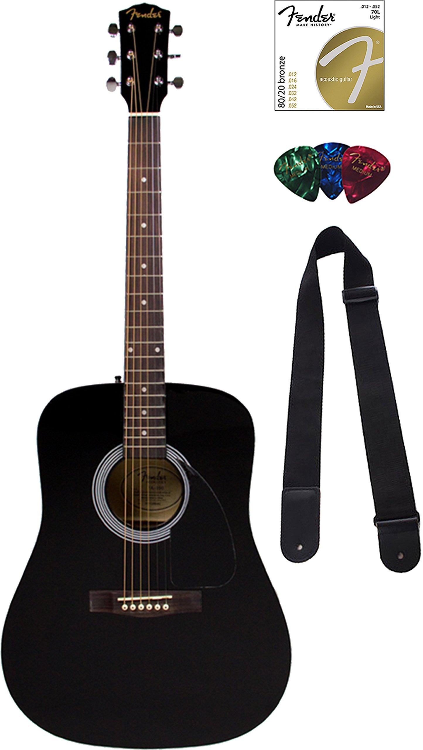 Fender FA-115 Dreadnought Acoustic Guitar - Black by Fender