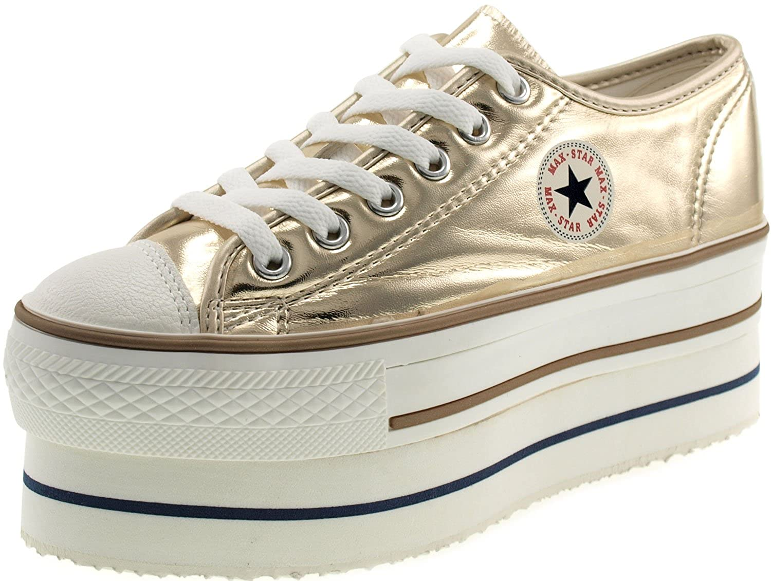 be75cd7c9b5d Amazon.com | Maxstar Women's CN9 6 Holes Double Platform TC Low Top Sneakers  | Fashion Sneakers