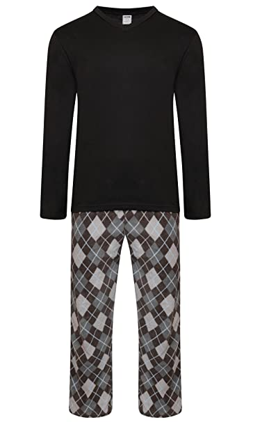 Mens Warm Fleece Jersey Winter PJ Pyjama Night Wear PJ s Pyjamas Sets New S 5f83d4e35